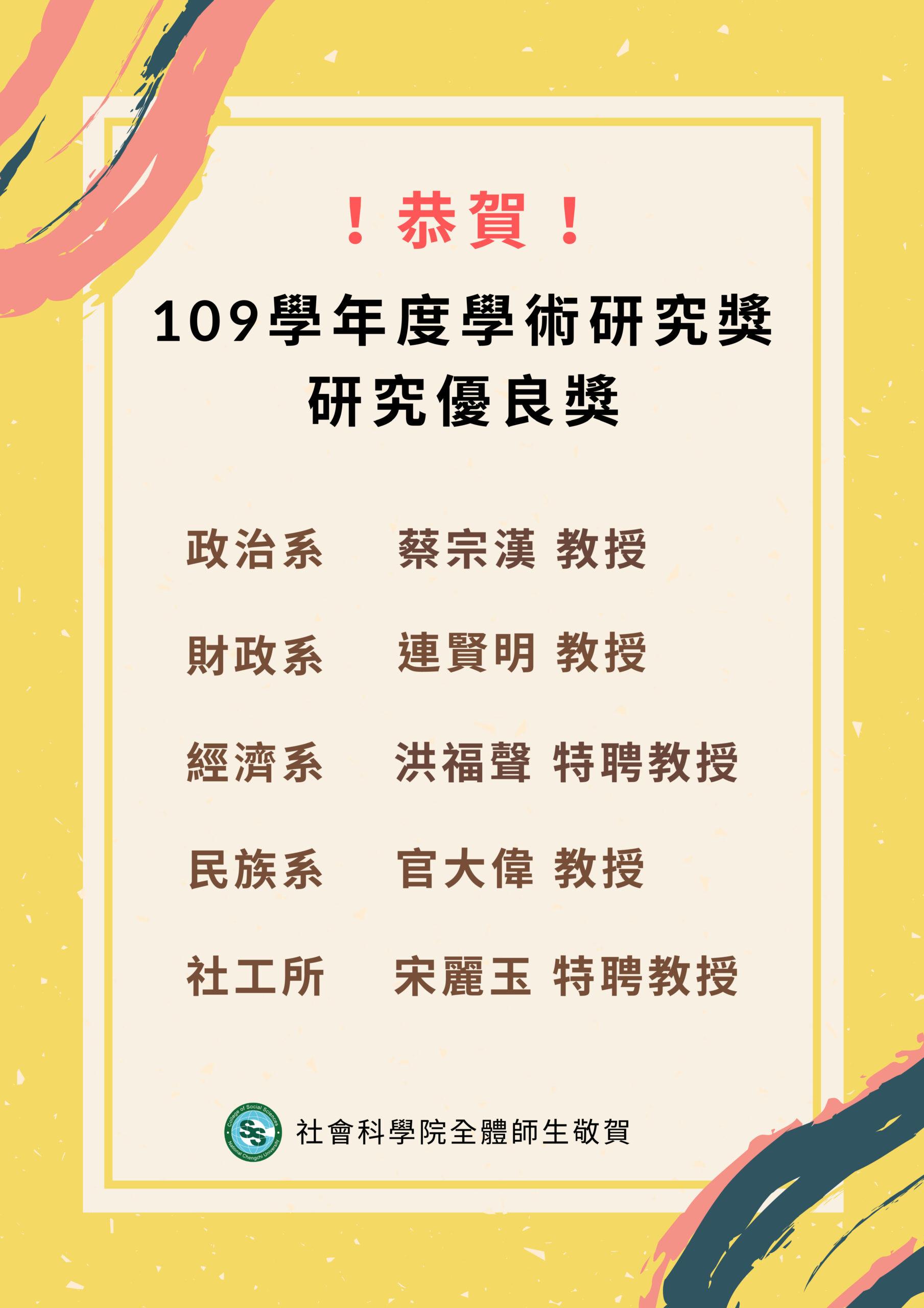 109學年度學術研究獲獎名單